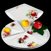 Блюдо для сервировки 5 секций на подносе 42,5см «Фрукты айвори»