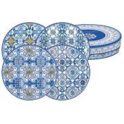 Набор из 4-х десертных тарелок Майолика (голубая) в подарочной упак.