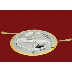Менажница хрустальная на метал. подносе, с ложкой и вилкой «Эра»
