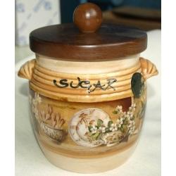 Банка для сыпучих продуктов с деревянной крышкой (сахар) «Кантри» 0,75 л