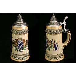 Пивная кружка керамическая с гербом с крышкой 0,7 л