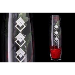 Декоративная ваза с искусственными цветами (роза).Стекло и хрусталь
