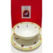 Набор из двух предметов: Тарелка + салатник «Алиса» желтый кант