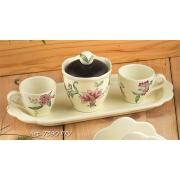 Набор: 2кофейные чашки+сахарница на подносе, Дл=30см «Прованс»