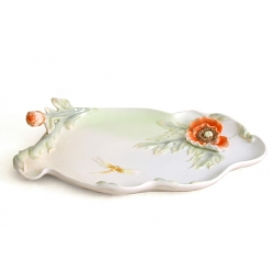 Блюдо декоративное «Мак и стрекоза» 18х29 см