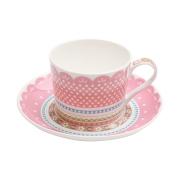 Чашка с блюдцем (розовая) Шантильи в подарочной упаковке