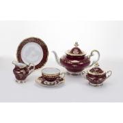 Сервиз чайный 210 мл. 19 см. на 6 перс. 21 пред. подарочный «Ювел красный»