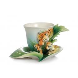 Чашка с блюдцем «Тигры»