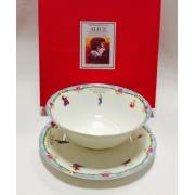 Набор из двух предметов: Тарелка + салатник «Алиса» голубой кант