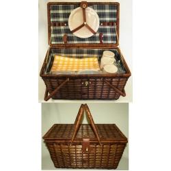 Набор для пикника из темного бамбука на 6 персон (бежево-зеленая клетка)