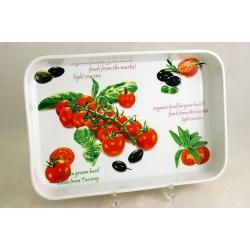 Блюдо прямоугольное (большое) «Помидоры и оливки» 35х24 см