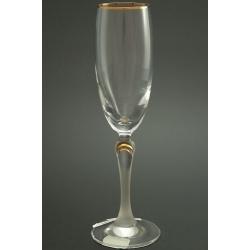 Бокал для шампанского 160 мл «Люция» декор матовая ножка с декорацией золотом в верхней ее части +золотая кайма