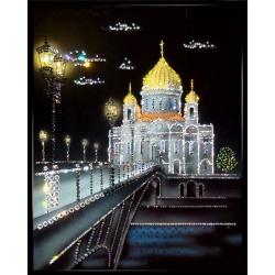 Храм Христа Спасителя, 40х50 см,2554 кристаллов