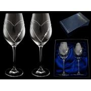 Набор бокалов для вина (2 шт) Большое сердце с кристаллами