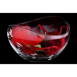Декоративная ваза 14 см с искусственными цветами (роза).Стекло и хрусталь