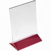 Подставка наст. для меню А5 H=22, L=15.5, B=9.5см; прозр. , красный