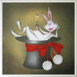 Кролик в шляпе.Размер картины:20х20