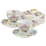 Набор: 2 чашки + 2 блюдца для кофе Восточный сад в подарочной упаковке