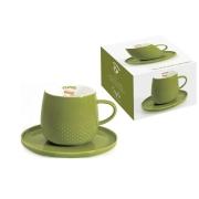 Чашка с блюдцем тёмно-зелёная Капли дождя