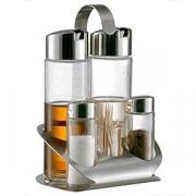 Набор соль/перец+масло/уксус,ст. для зубоч.; стекло,нерж.; H=20,L=13,B=11.5см; прозр.,серебрян.