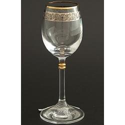 Рюмка для водки 060 мл «Глория» панто + платина по декору +золотая кайма над декором и декорация золотом деталей на ножке