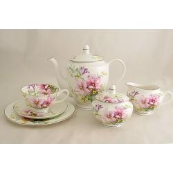 Чайный сервиз из 21 предмета на 6 персон «Розовые лилии»