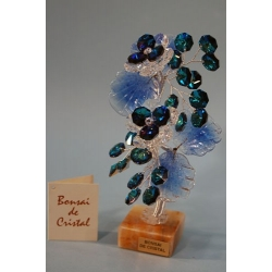 Бонсай с хризантемами синий 19 см