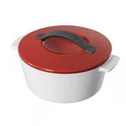 Кастрюля для запекания с крышкой, фарфор, 2.4л, D=23,H=14см, белый,красный