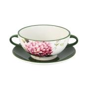 Суповая чашка на блюдце Цветы и птицы