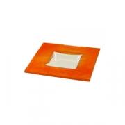 Тарелка квадр «Бордер» 13*13см оранжев.