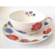 Чайная пара «Красно-синие цветы» 350мл