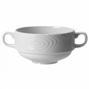 Бульонная чашка 2ручки «Оптик», фарфор, 290мл, D=10,H=5см, белый