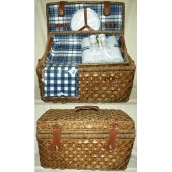 Набор для пикника из темного бамбука и морской травы с подносом на 6 персон (сине-белая клетка)