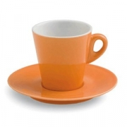 Чашка чайн.с блюдцем; фарфор; 200мл; оранжев.