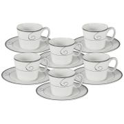 Набор 12 предметов для кофе Волна: 6 чашек + 6 блюдец