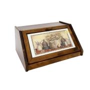 Деревянная хлебница с керамическими вставками «Натюрморт»