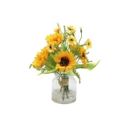 Декор.цветы Букет с подсолнухами в стекл.вазе