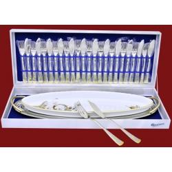 Набор для рыбы (блюдо мет, блюдо фарф. 12 вилок, 12 ножей, вилка и нож(большие) «Голд Флауэр
