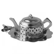 Сито для чая с подставкой «Чайник», сталь нерж., D=60,H=25,L=60мм, серебрян.