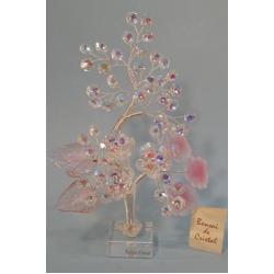 Бонсай с хризантемами матовый розовый 26см