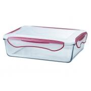 Контейнер стеклянный прямоугольный, 4 л, Clip Fresh