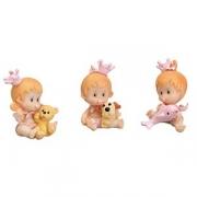 Фигурка ребенка в розовом с игрушкой для торта, H=46мм