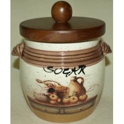 Банка для сыпучих продуктов с деревянной крышкой (сахар) «Кухня» 0,75 л