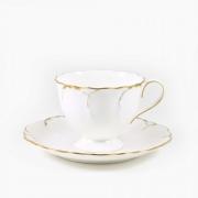 Набор 6 чайных пар 250мл «Белый с золотом»