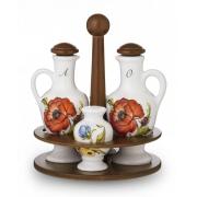 Набор на деревянной подставке: Д=19,5см. соль/перец/масло/уксус «Ботанический сад»