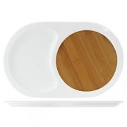 Блюдо для стейка/сыра, бамбук,фарфор, H=2,L=36,B=22см
