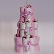 Набор для новорожденных «Торт» (полотенца+подгузники) розовые
