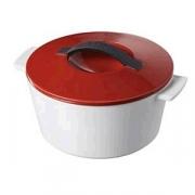 Кастрюля для запекания с крышкой, 200мл, D=105,H=70мм, белый,красный