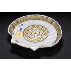 Салатник Ракушка из фарфора с декором под золото, h 5, d 29