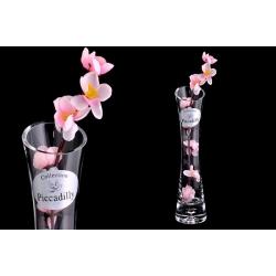 Ваза декоративная с одним искусственным цветком (розовым).Стекло и хрусталь